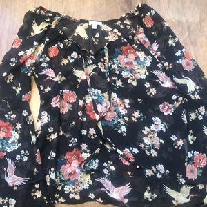Lily White sheer Asian print top